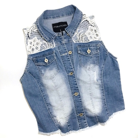 Maurices Tops - Maurices Distressed Denim Frayed White Lace Vest